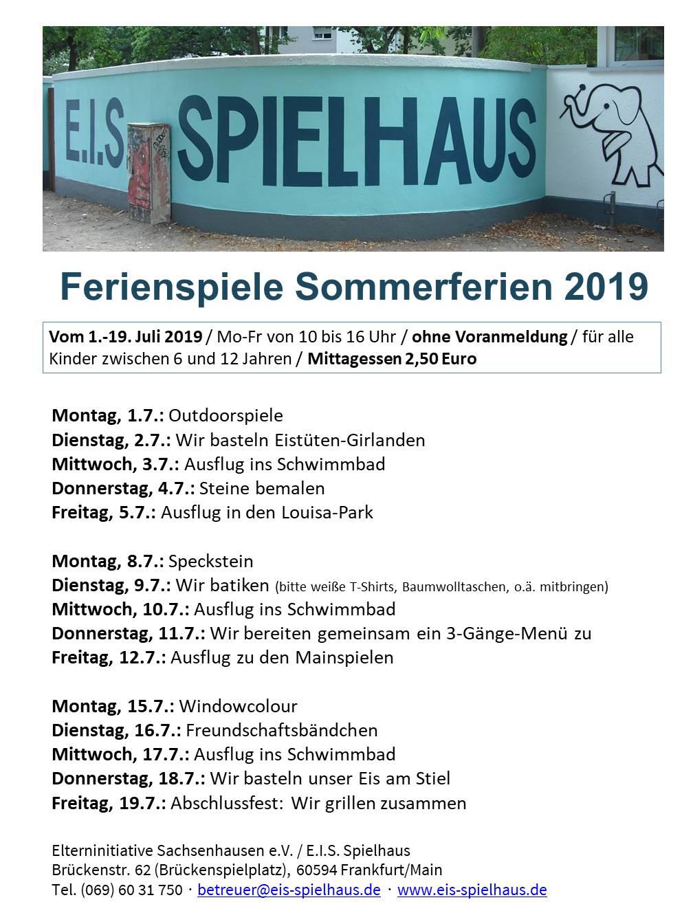 E.I.S. Ferienspiele Sommer 2019