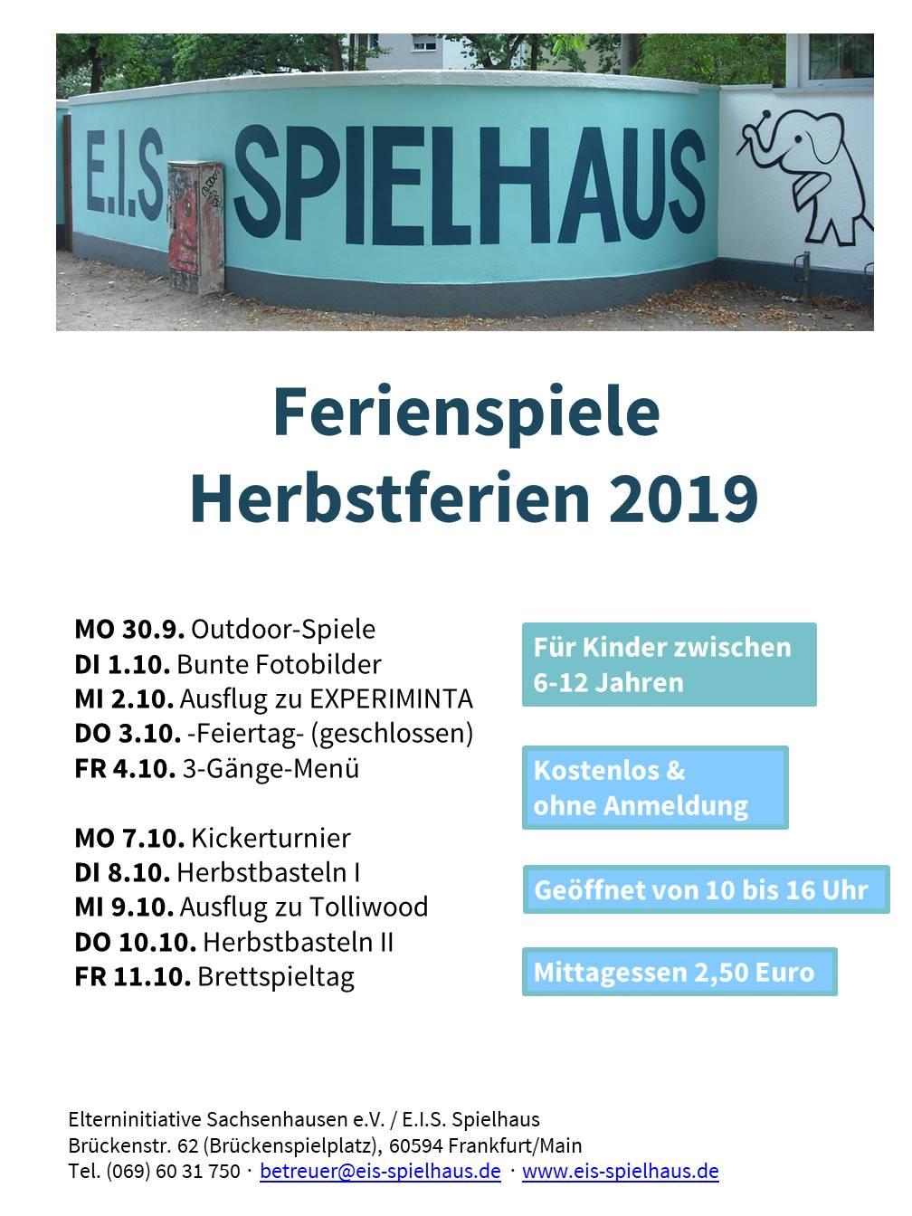 E.I.S. Ferienspiele Herbstferien 2019